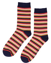 Navy, Pink, Orange & Mustard Striped Socks By NUMPH - SWALK Fashion