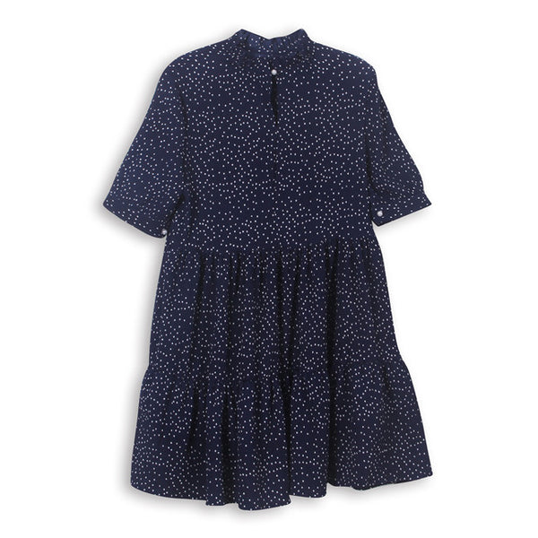 Navy with White Dot Tunissie Tunic/Dress by CUBIC - SWALK Fashion