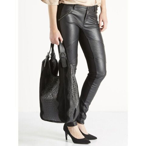 Black Leather with Croc Effect Tote Bag by NU DENMARK - SWALK Fashion