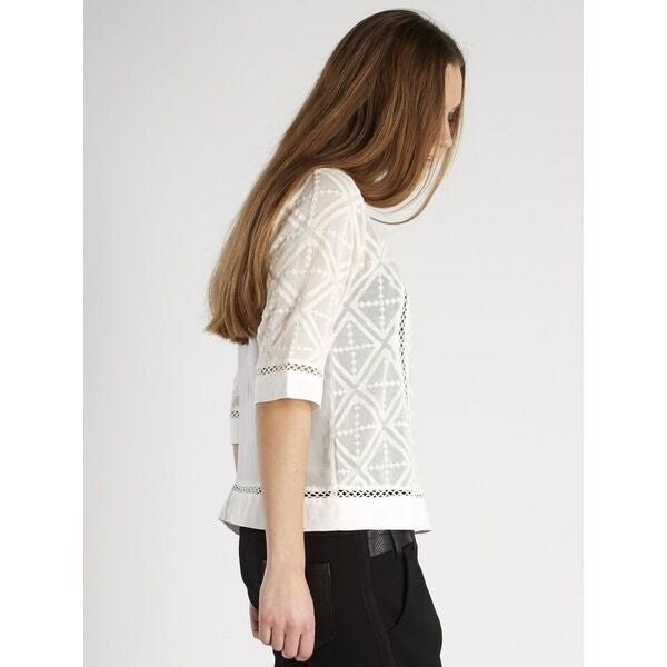 Cream Embroidered Pattern 3/4 Sleeve Blouse by NU DENMARK - SWALK Fashion