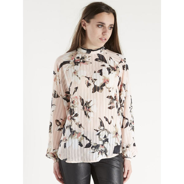 Pink Floral Detail Pleated Blouse with Pearl Crew Neck by NU DENMARK - SWALK Fashion
