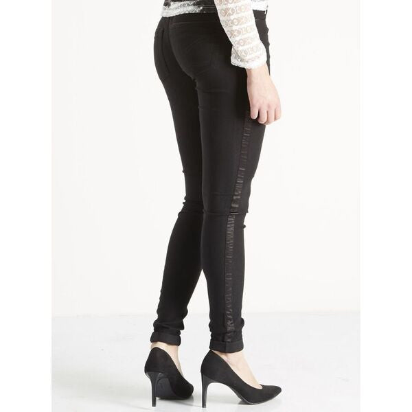 Fitted Trousers with Satin Side Detail by NU DENMARK - SWALK Fashion
