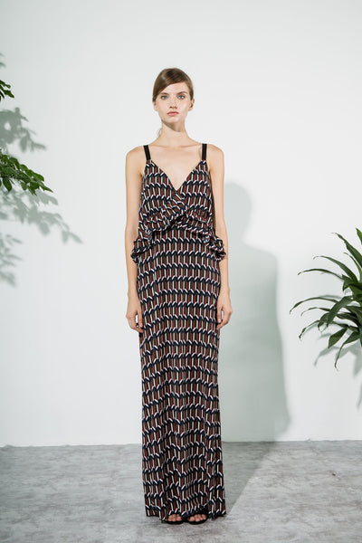 Tribal Patterned Maxi Dress by CUBIC - SWALK Fashion