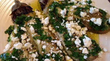 GRILLED AUBERGINES WITH GARLIC PARSLEY AND FETA
