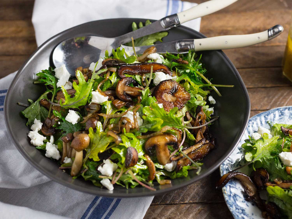 WARM KALE AND CARAMELISED MUSHROOM SALAD