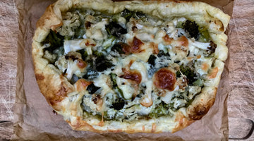 BROCCOLI AND CAULIFLOWER GALETTE WITH LEEKS AND RICOTTA