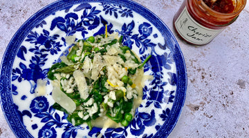 PEA SPINACH AND ASPARAGUS RISOTTO - SERVES 2