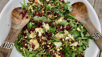WARM ROASTED CAULIFLOWER SALAD WITH ROCKET AND TOASTED PISTACHIOS