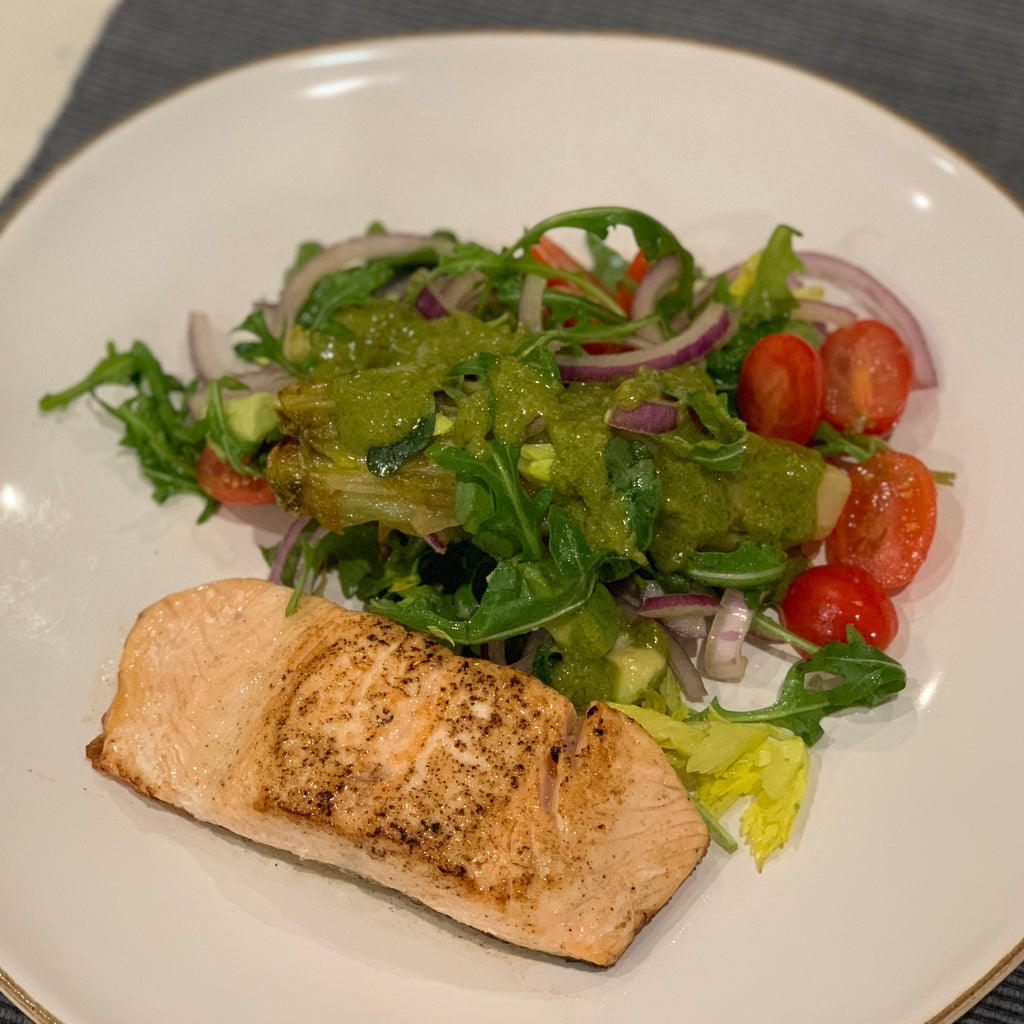 PAN FRIED SALMON WITH CARAMELISED CHICORY, ROCKET AND CELERY LEAF SALAD