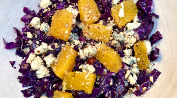 WARM RED CABBAGE, ORANGE AND BLUE CHEESE SALAD - SERVES 2