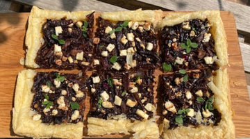 CARAMELISED RED ONION AND FETA TART - serves 6 with salad