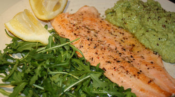 TROUT FILLET WITH BROAD BEAN EDAMAME AND PEA MASH