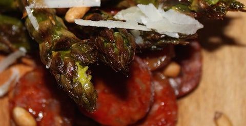 Oven Baked Asparagus with Pinenuts Parmesan and Chorizo