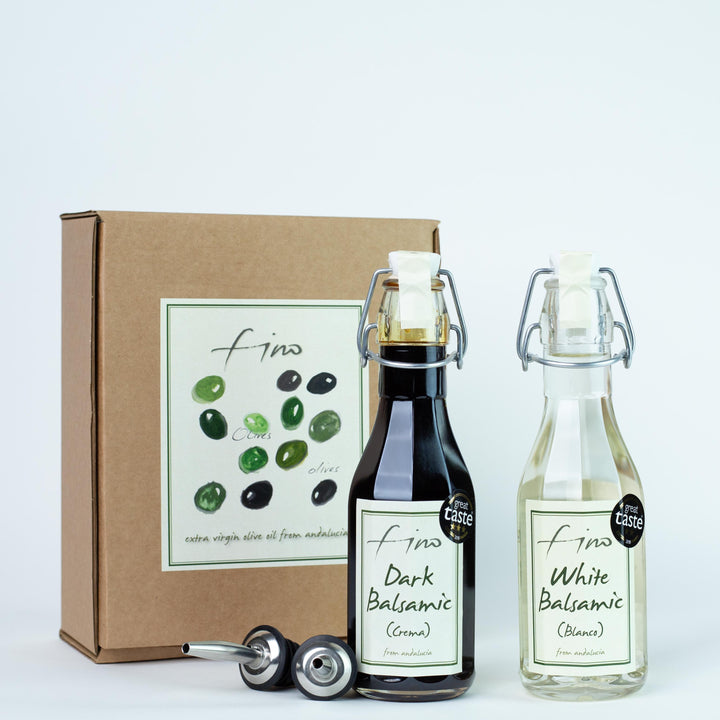 SPANISH BALSAMIC GIFT BOX - AGED DARK BALSAMIC (CREMA) AND WHITE BALSAMIC (BLANCO)  WITH TWO CHROME POURERS
