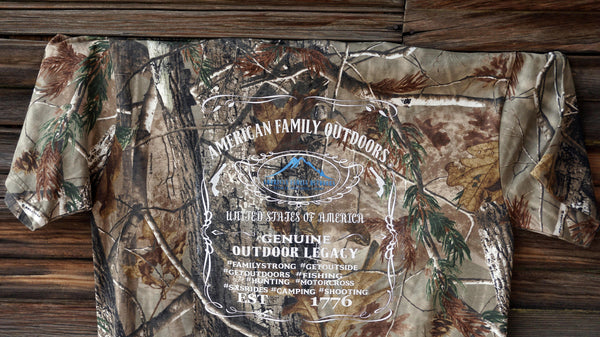 American Family Outdoors Camo Whiskey Shirt