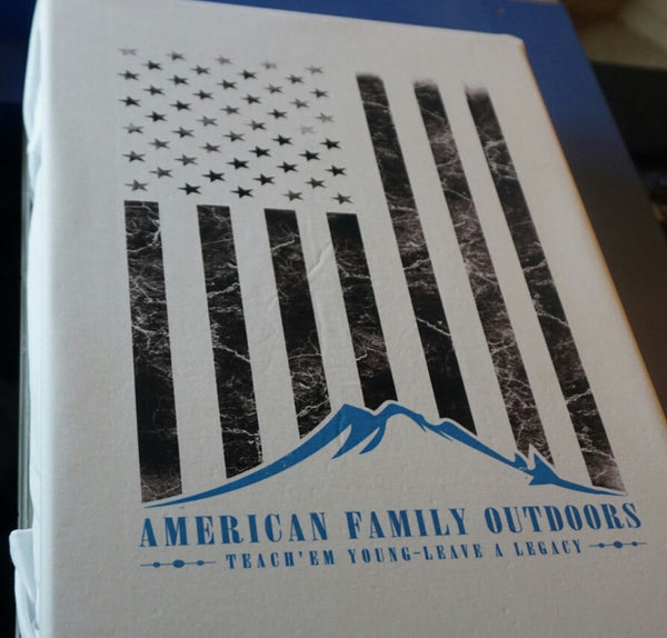American Family Outdoors Distressed Flag White
