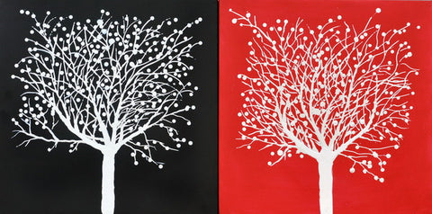 Snow Tree Red and Black