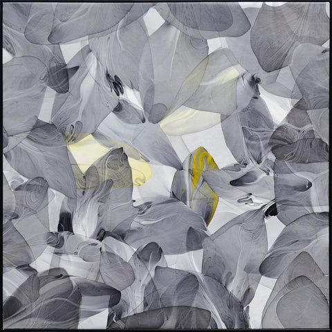Flow leaf Fineart Painting Grey