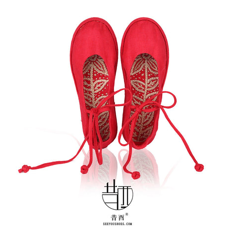 Lace Up Flats Traditional hand-sewn Shoes Handmade Red