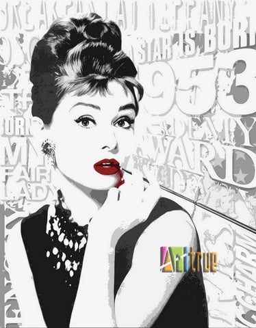 Audrey Hepburn Pop Art Hand Embellished Acrylic Over Giclee