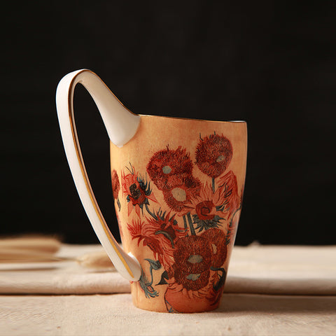 Vase with Fifteen  Sunflowers - Ceramic Mug