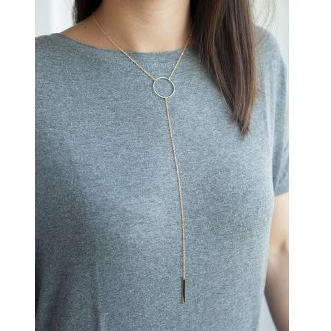 Elisa Plunge Hoop & Bar Necklace (Necklace) - Chizmiiz Boutique