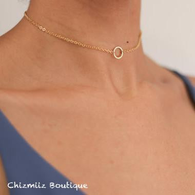 Olivia Round Choker Necklace (Necklace, Choker Necklace) - Chizmiiz Boutique