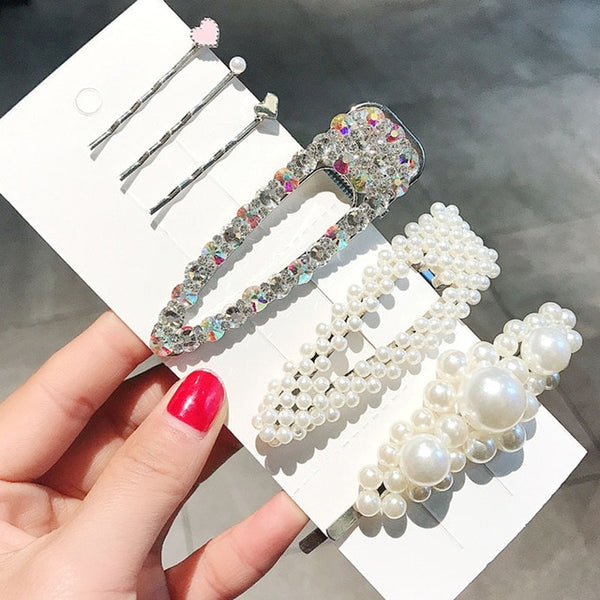 Flower Pearl Universe Hair Clips