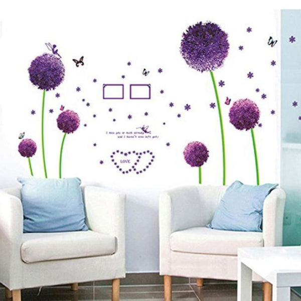 2016 wall sticker poster Mural Lovely Purple Dandelion diy cartoon decals home decor Art Mural Living room decorations posters