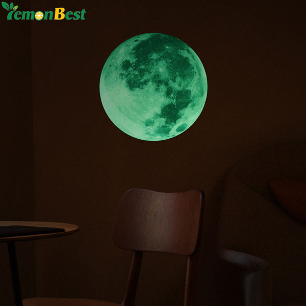 30cm Luminous Moon Wall Stickers Glow in the Dark DIY Wall Sticker Living Room Home Astronomy Decor Poster adesivo de parede