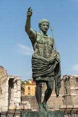 Picture of a bronze statue of Roman Emperor Augustus Caesar, or Octavian, Rome's first emperor, close to the Forum of Augustus