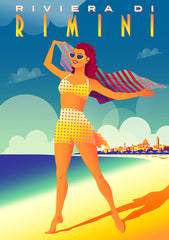 Illustration of a woman standing on the beach on the Adriatic coast in Rimini, Italy.