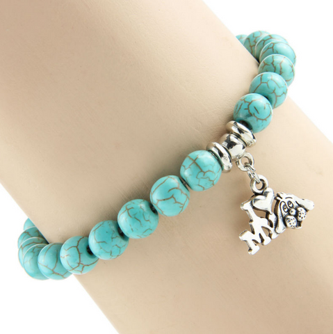 """Love My Dog"" Turquoise Charm Bracelet"