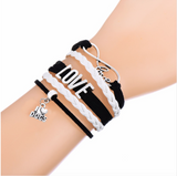 Love Dogs Fashion Braided Leather Rope Bracelet-Free + Shipping