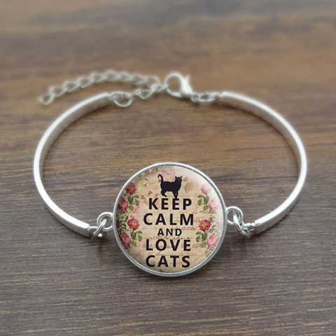 Keep Calm and Love Cats Charm Braclet