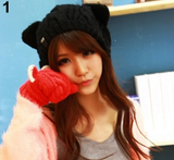 Hand-Knitted Cat Ear Beanie-Free +Shipping