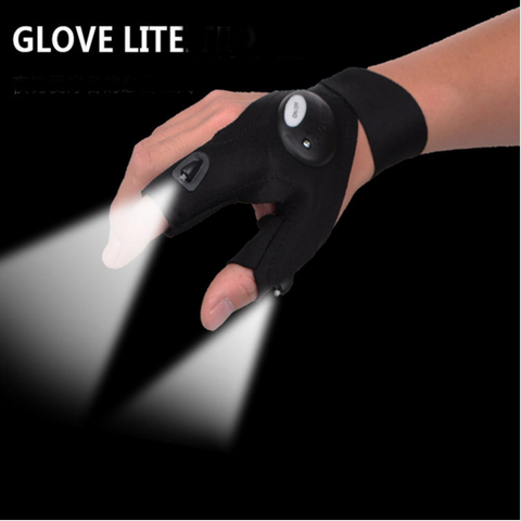Magic Strap Fingerless Glove with LED Flashlight