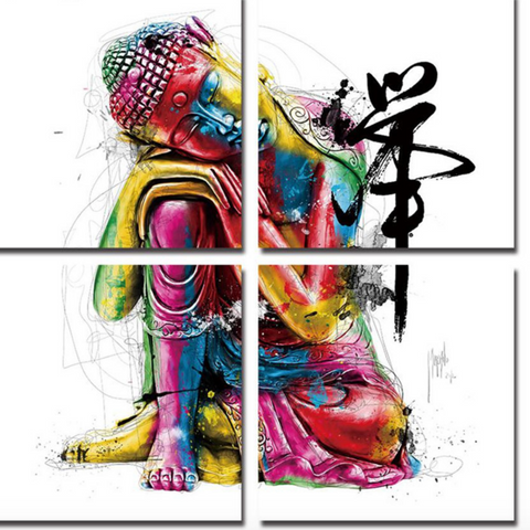 4 Piece Buddha Framed Canvas Wall Art Painting