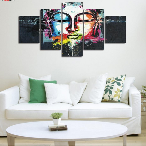 Colorful Buddha Canvas Art With Framed 5 Piece Wall Pictures For Living Room
