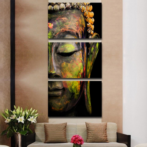 Beautiful 3 Piece Abstract Buddha Modern Canvas Wall Art