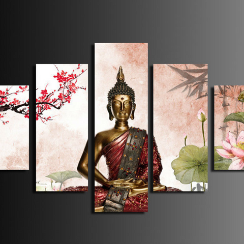 Hot 5 Panel Abstract Printed Buddha Painting Canvas Wall Art Home Decor Buda Cuadros Picture For Living Room Framed