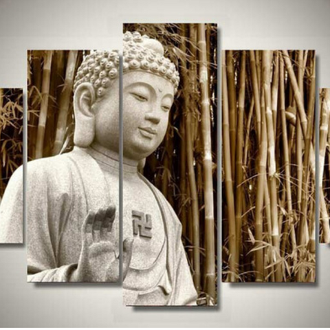 5 Panel Modern White Stone Buddha Wall Canvas Art