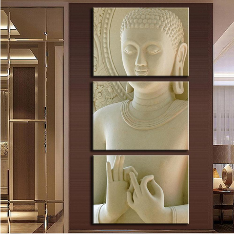 3 Panel Modern Buddha Canvas Wall Art