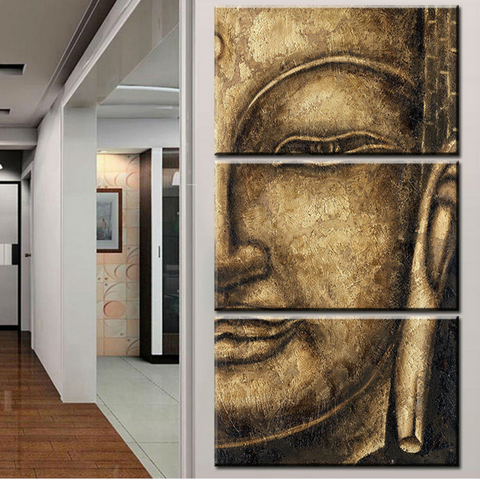 3 Panel Modern Abstract Old Golden Buddha Canvas Wall Art