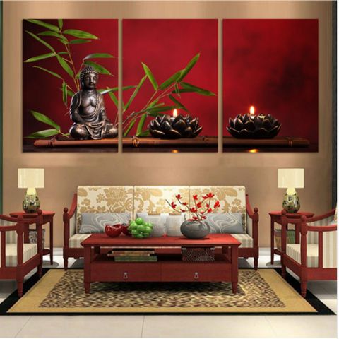 Beautiful Warm Colorful 3 Panel Buddha Canvas Modern Wall Art