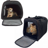 "Large Soft Sided Airline Approved Pet Carrier, 18"" L x 12"" W x 11.5"" H, Black"