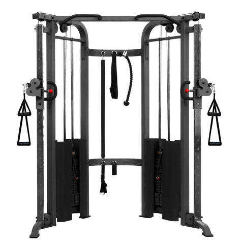 XMark-XMark XM-7626-White Functional Trainer Cable Machine with Dual 200 lb Weight Sta-Home Gym-PACESETTER FITNESS