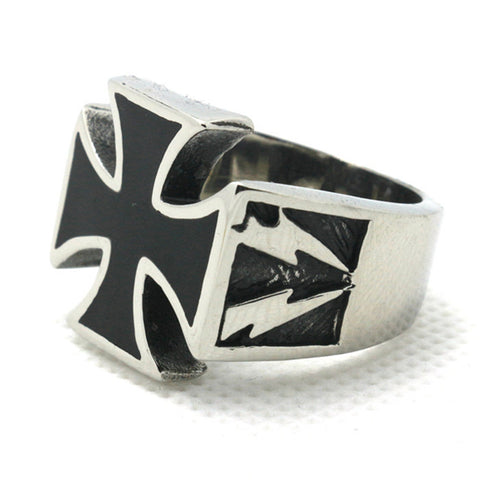 Pacesetter-Iron Cross Lightning 316L Stainless Steel Ring-Jewelry-PACESETTER FITNESS