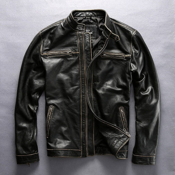 Pacesetter-HARLEY Men's Motorcycle Jacket Cowhide Slim fit-Clothing-PACESETTER FITNESS