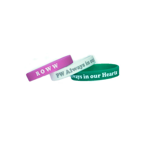 Wristbands in Always in our Hearts - pink/white/teal